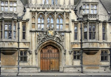 The closed gate of Brasenose College, Oxford