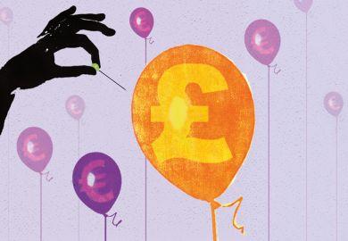 British pound (GBP) symbol balloon being popped