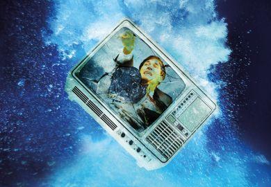 Broken television sinking underwater