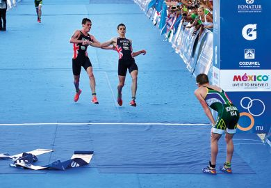 Brownlee crossing the finish line