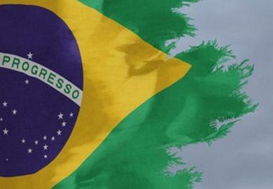 Tattered Brazilian flag