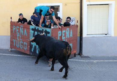 Bull charging people