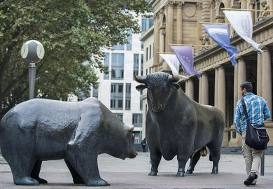 Bull and bear sculptures