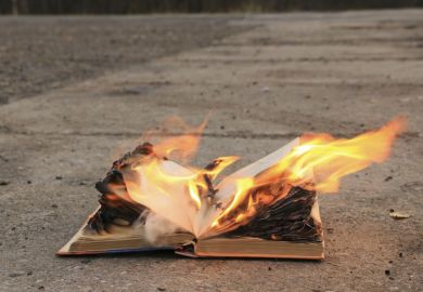 Burn book, burning, on fire representing the dropping of publication as requirement for PhD