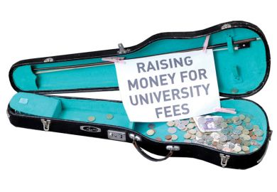 Busker's guitar case collecting money for university fees