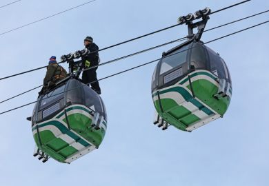 Maintenance work on a cable car