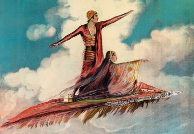 Illustration of man and woman on flying carpet symbolising the helping hand of letters of recommendation
