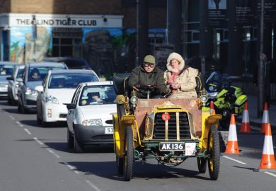 Cars stuck in traffic, RAC London to Brighton Veteran Car Run