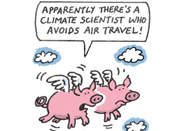 Cartoon of flying pigs