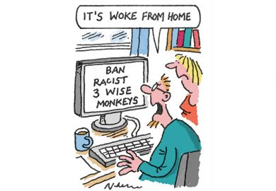 Cartoon of man and woman looking at computer screen