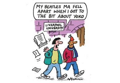 Cartoon about master's degree on the Beatles