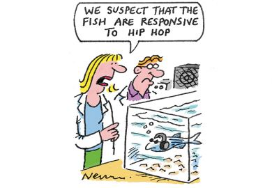 Cartoon of scientists looking at a fish wearing headphones in a tank: 'We suspect that the fish are responsive to hip hop'