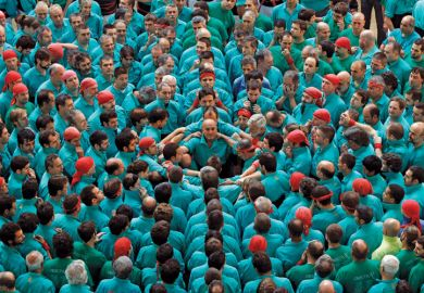 Castellers de Vilafranca form human tower, Tarragona, Spain