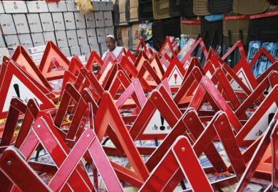 Caution hazard road signs