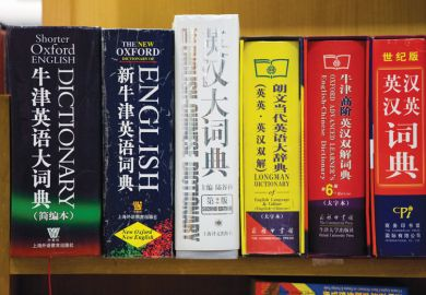 Shelf full of Chinese dictionaries