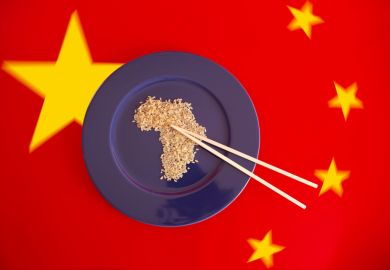 Chinese flag with rice in shape of Africa