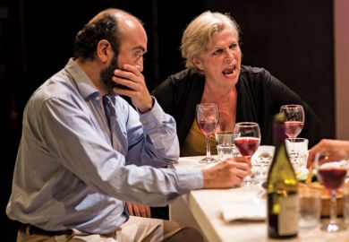 Chris Spyrides and Trudy Weiss in Crossing Jerusalem, Park Theatre, London