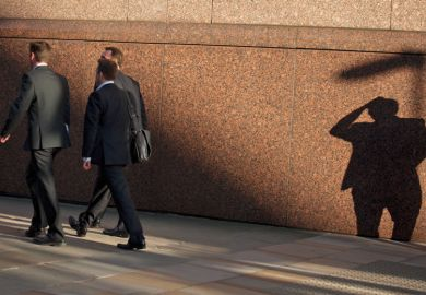 City men walking with shadow