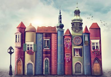Illustration of a city scene made of books