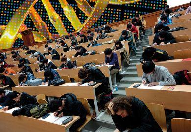 Students take a test