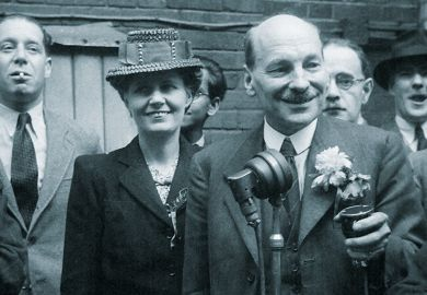 Clement Attlee celebrating Labour Party election victory, 1945