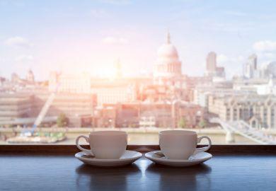 Coffee cups overlooking St Pauls, London