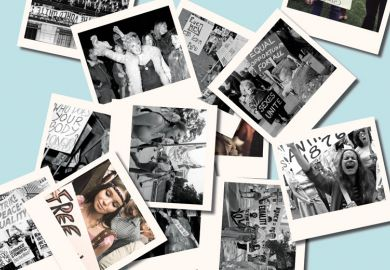 Collage of polaroid photos of demonstrators, 1960s/1970s