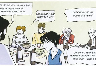 Comic strip panel from Notes on a Thesis, by Tiphaine Rivière