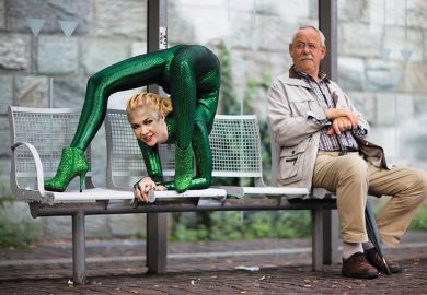 Contortionist next to an older man on a bench illustrating flexibility of young universities