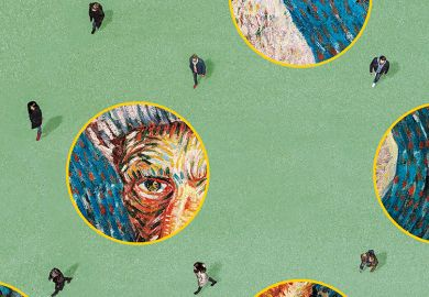 People walking among circles of images of a Van Gogh painting