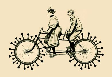 Woman and man on a tandem bike with coronavirus wheels