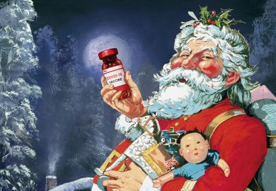 Illustration of Santa with Covid-19 vaccine
