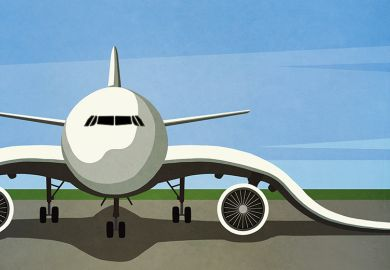 Illustration of an airplane with floppy wings