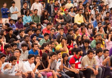 Crowd of Indian students