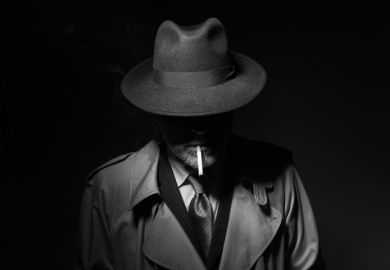 A film noir detective with face in shadow, symbolising the necessity of subterfuge