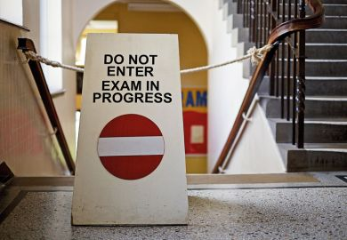 'Do not enter. Exam in progress' sign on staircase