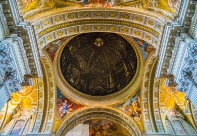 The painted dome by Andrea Pozzo, in the Church of Saint Ignatius of Loyola in Rome