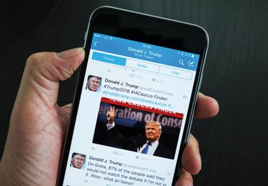 Donald Trump Twitter feed viewed on smartphone