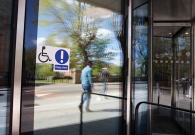 Disabled sign on door