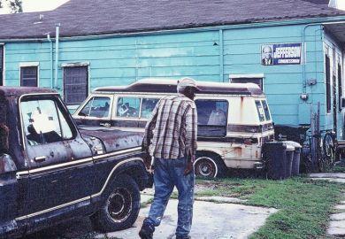 Elderly American man, abandoned truck