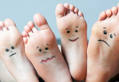 Feet showing emotions