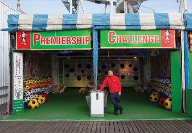 Empty football fairground game