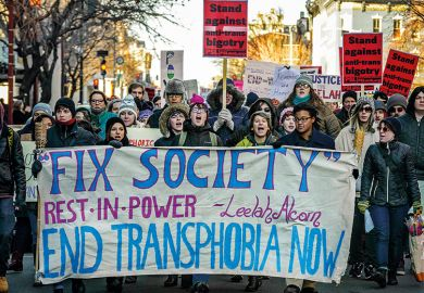 End transphobia demonstrators