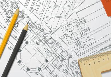 Engineering illustration on drawing board