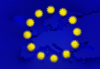 A European flag with the coronavirus replacing the stars