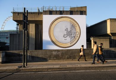 Euro coin on billboard