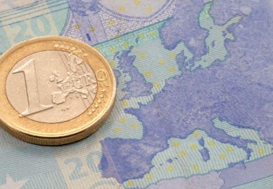 Map of europe on a Euro note