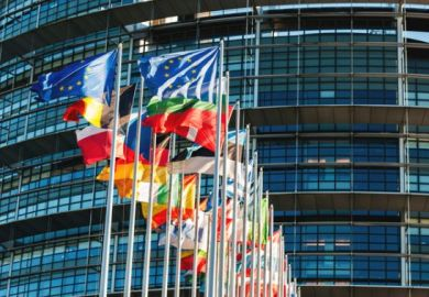 European flags outside the the European Parliament in Strasbourg, France