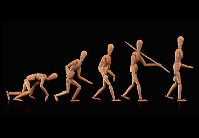 Evolution of humans (wood figurines)