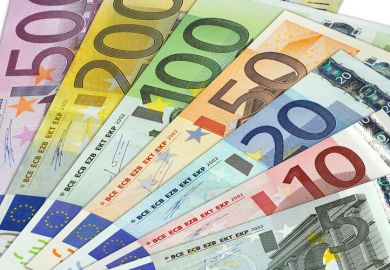 Fan of Euro currency notes